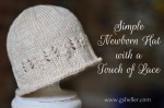 knitting pattern for a simple newborn hat with a touch of lace