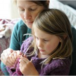 Teaching children how to knit: Letters to Larkspur