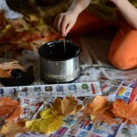Autumn leaves with beeswax