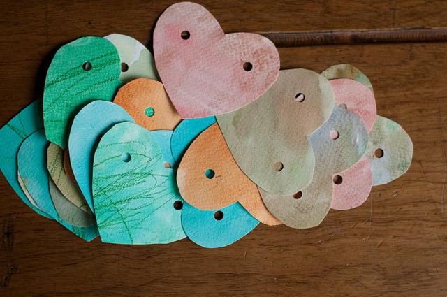 watercolor heart garland